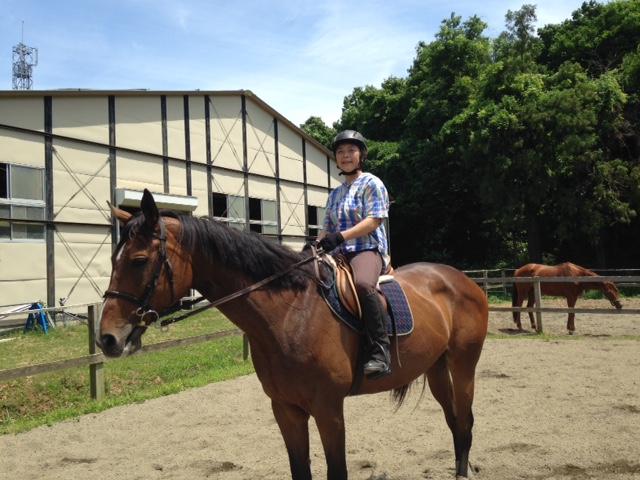 乗馬クラブでレッスンを受講しました。本日は暑かったです。 茨城県水戸市 Hさん